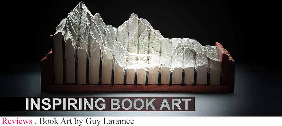 Today I want to share with you the fantastic work of Guy Laramée and incredible series of carved book landscapes and structures.  Book Art by Guy Laramee slider