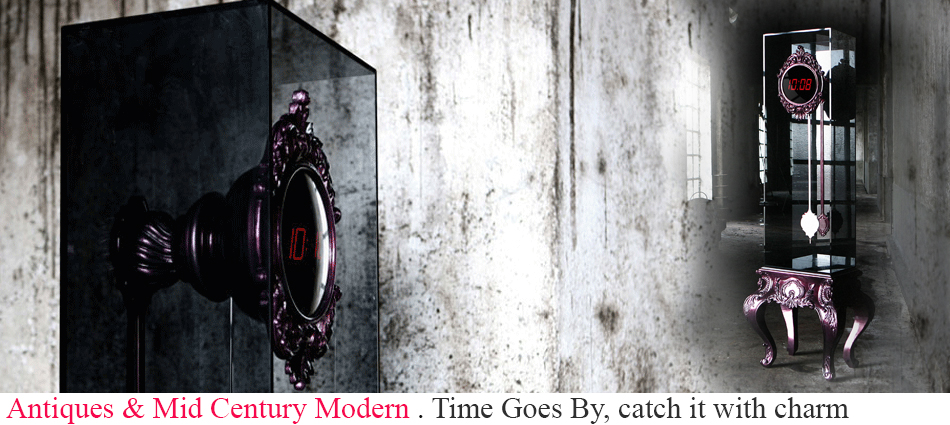 Novel yet with a classic appeal this piece is a dynamic twist on the time-honored grandfather clock. A hand carved mahogany framed digital clock with a cut stainless steel pendulum is encased in a smoked glass box supported by an ornate hand carved mahogany base covered in silver leaf and finished with a combination of high gloss amethyst and smoked black translucent varnish.  Time Goes By, catch it with charm slider1