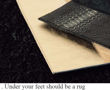 Under your feet should be a rug