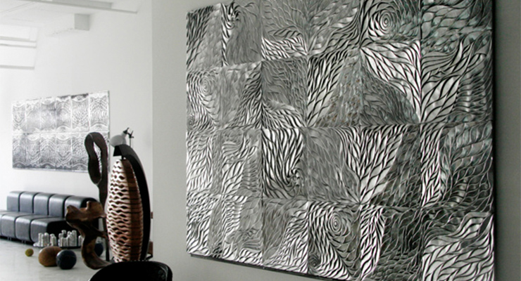 Designers who have turned to recycling aluminum transforming it into amazing artistic wall tiles.  Tiles with a tale Materials are being used in increasingly innovative ways for unique and practical design solutions 5