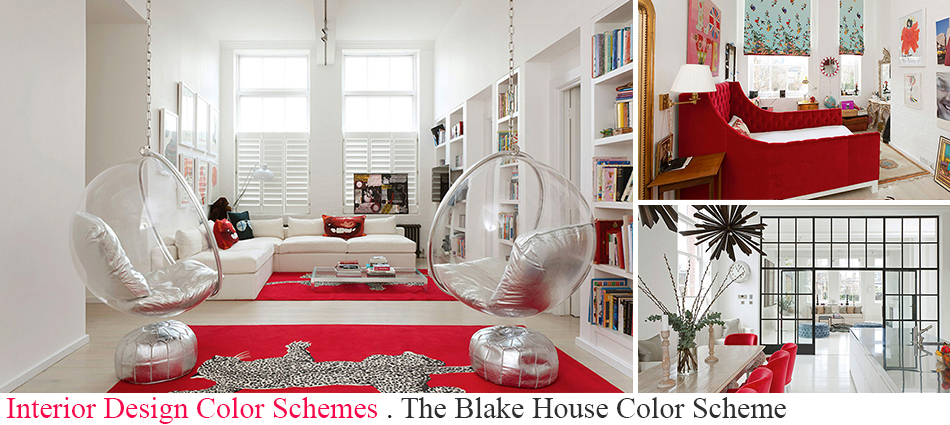 The Blake House in London is a two level loft, full of handsome details and eclecticist furnishings.  The Blake House Color Scheme slide interior design color scheme blake house