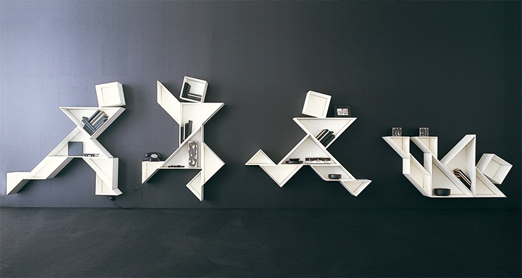 A mood board of 20 extraordinary Bookshelves with Unconventional shapes, stylish looks, sophisticated design, and playfully inspiring.  20 Extraordinary Bookshelves tangram by lago