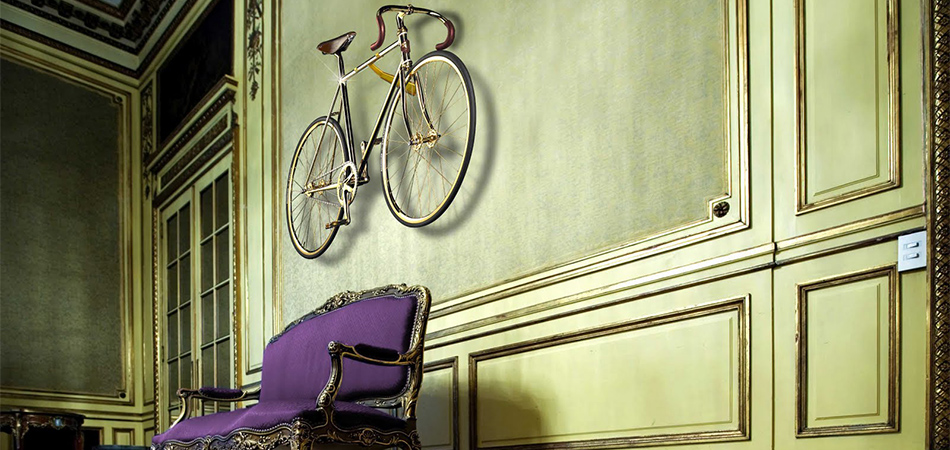Gold bike on wall, luxury home urban lifestyle and interior design Bicycles, the urban lifestyle and Interior Design slide