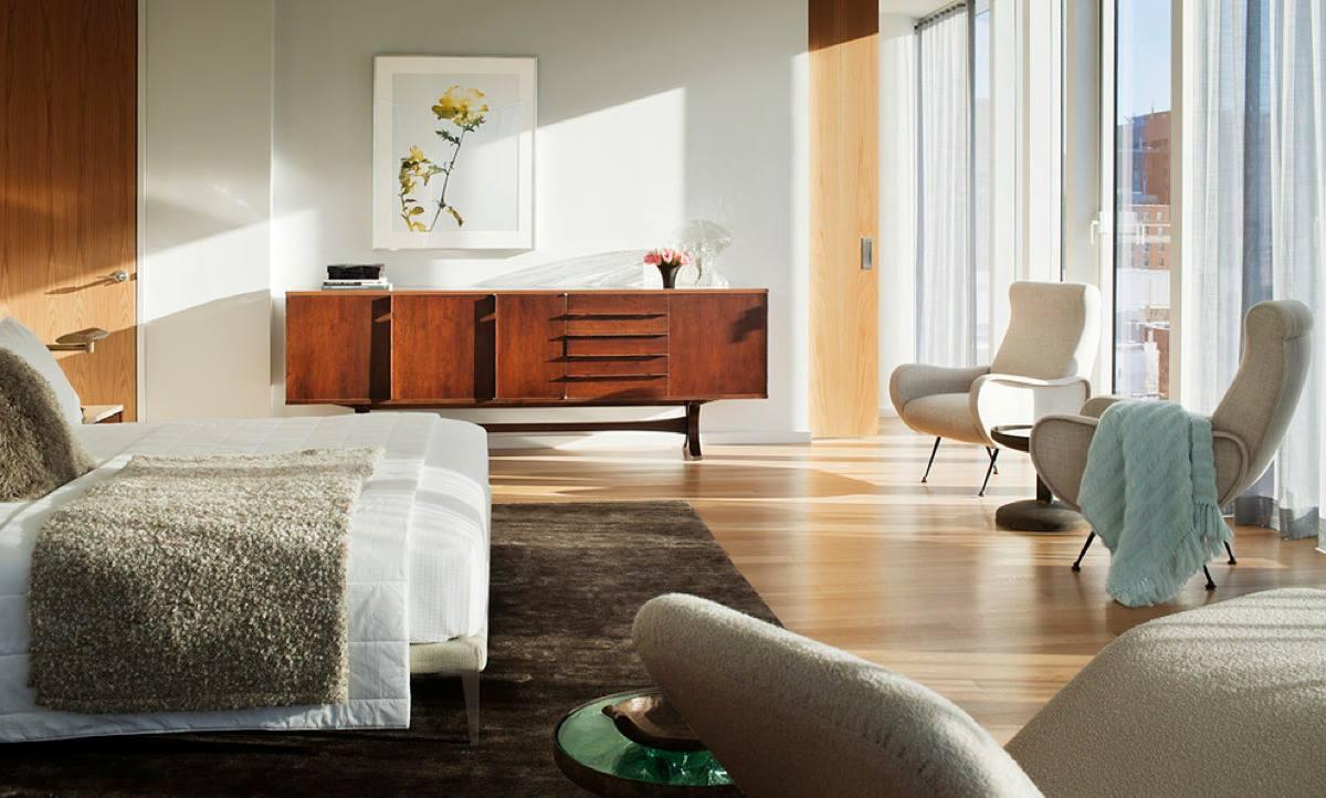 mid century modern bed room vintage decor