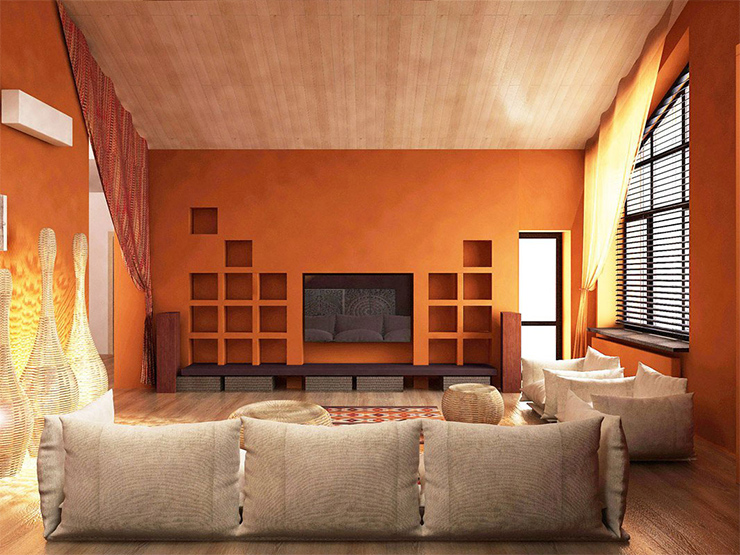interior color schemes 20 Interior Color Schemes: Summer Colors beige orange living room