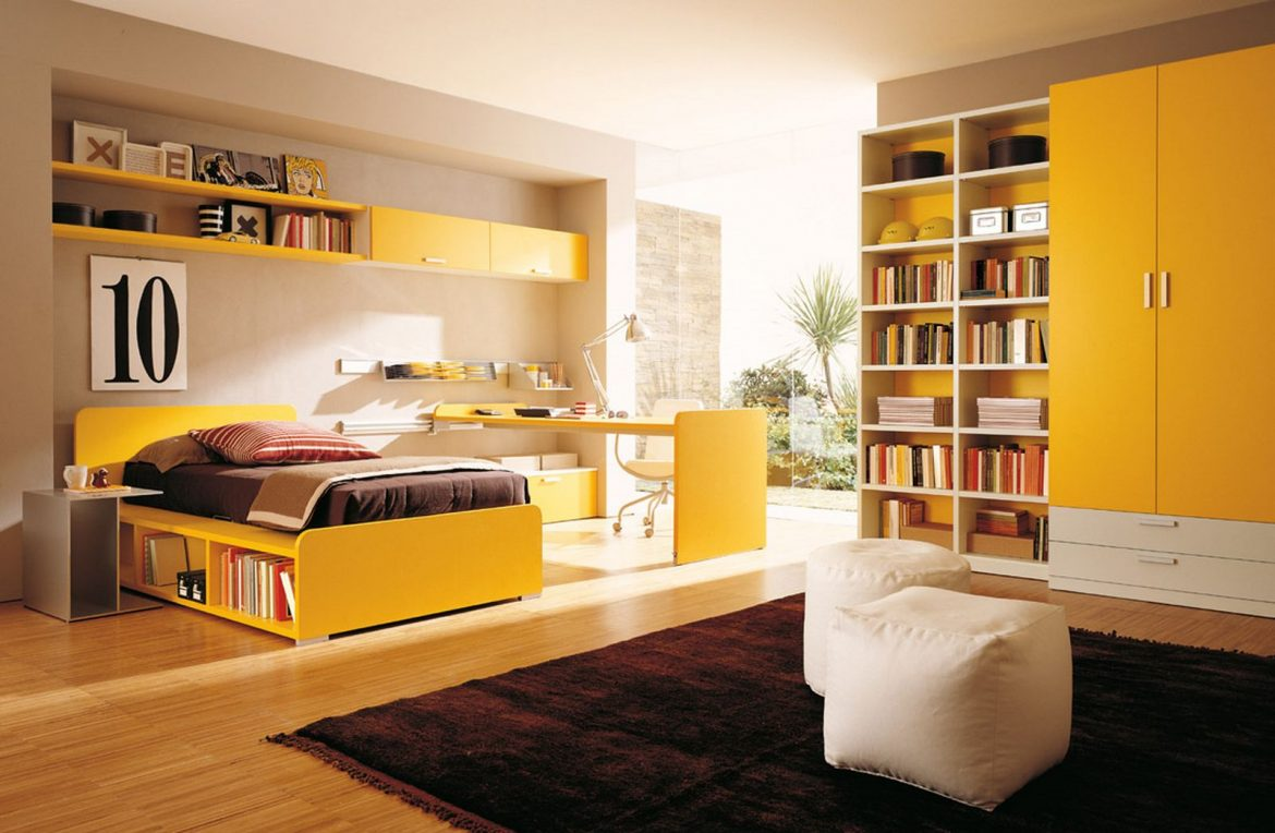 bedroom color palette ideas Bedroom Color Palette Ideas Yellow color teen bedroom with combination bookshelves and wardrobes