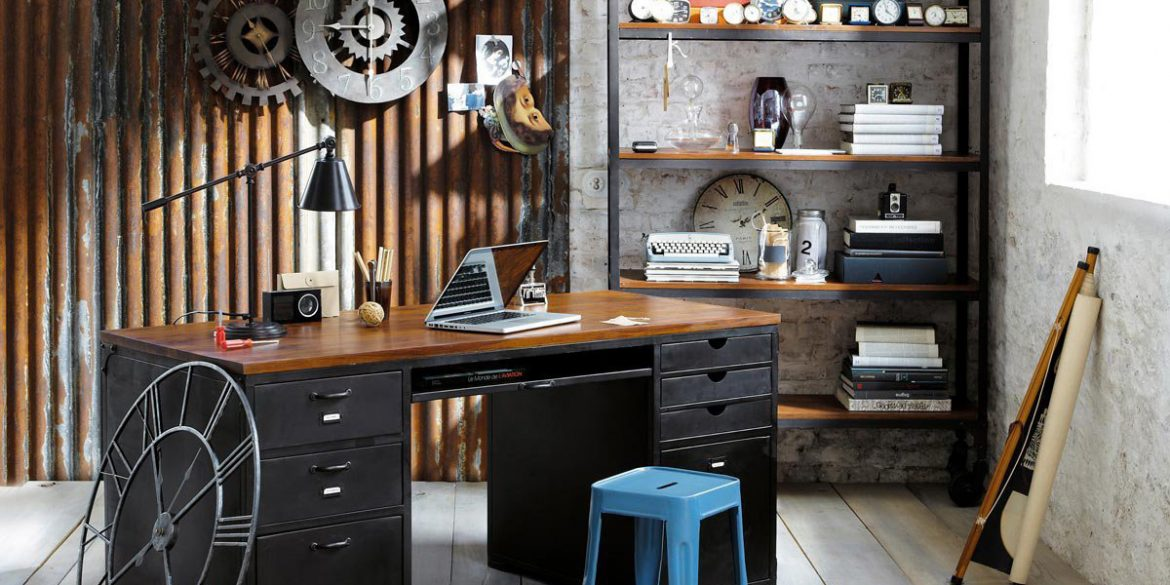 home office ideas 20 Home Office Ideas and Color Schemes industrial home office clocks slide