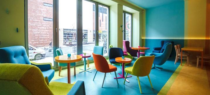 cafein bistro colorful interior