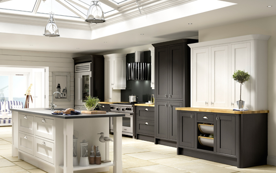 Tips to help remodel a kitchen efficiently 2013 09 30 11 55 56 painted wood fitted kitchen signature new england chalk white and black wood painted fitted kitchen available in showroom in south wales south west and midlands 205 1 image1