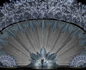 Highlighting the Glistening Swarovski Crystal Stage of the 90th Oscars