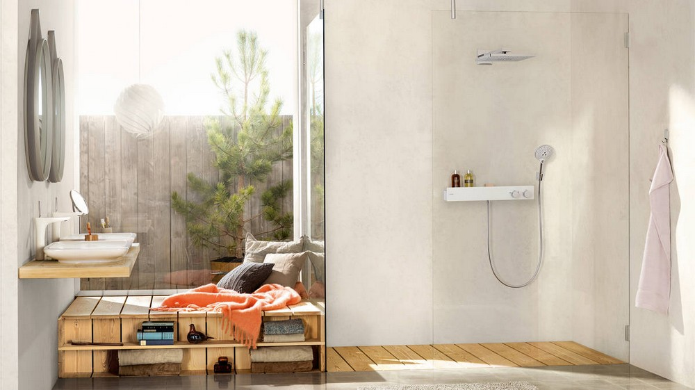 Open-Concept Bathroom An Open-Concept Bathroom? Yes, this is a trend for 2019! us rainmaker select 460 1jet overhead shower showertablet 600 ambience 16x9