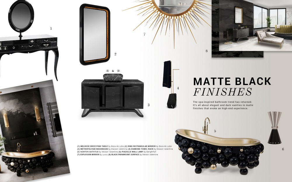 Renovate your bathroom decor with Matte Black Finishes matte black finishes Renovate your bathroom decor with Matte Black Finishes moodboard trends 2019 matte black bathrooms