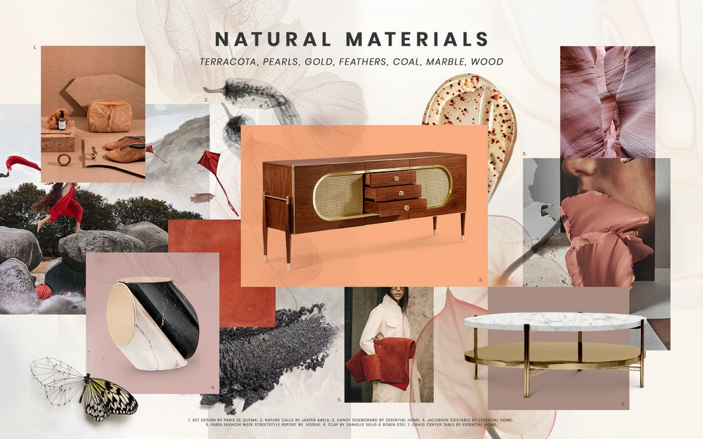 Inspire yourself with the Natural Materials trend in interior design natural materials Inspire yourself with the Natural Materials trend in interior design moodboard trends 2019 natural materials