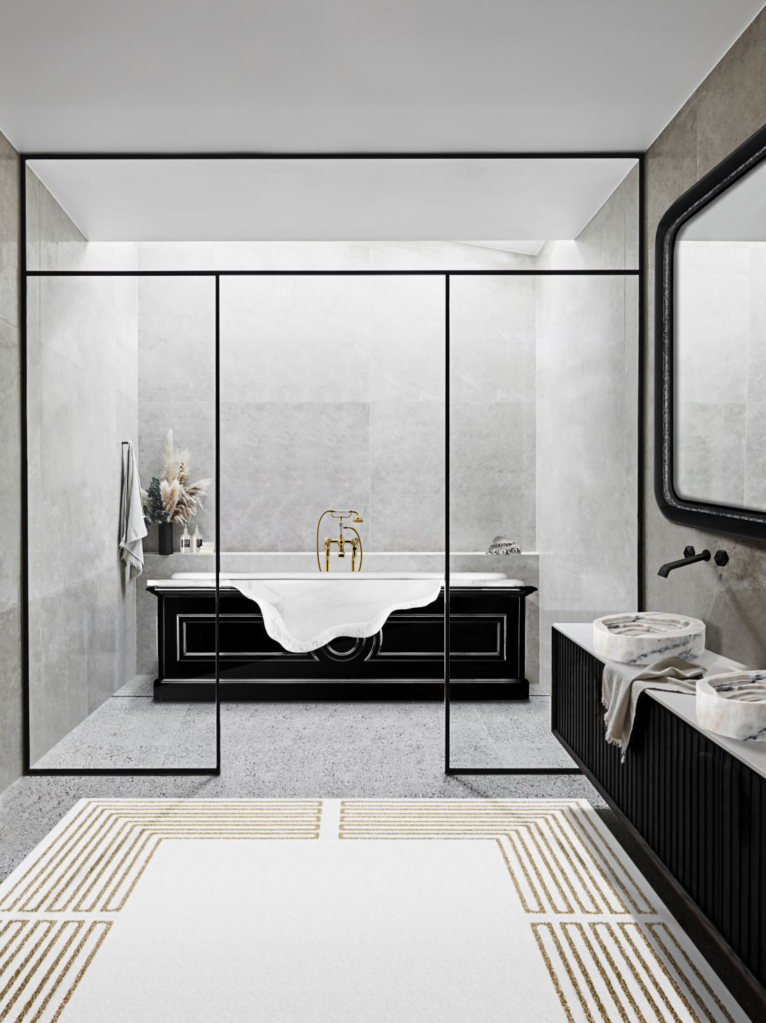 2020 Spring Interior Design Trends: Colors, Textures and Patterns 3 2020 spring 2020 Spring Interior Design Trends: Colors, Textures and Patterns MV petra bathtub midnight rug